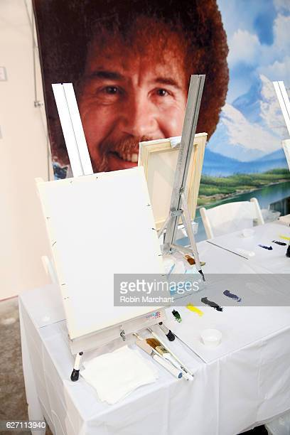 Bob Ross instruction setup at When The Art Comes Down Miami Beach hosted by Super 8 on December 1 2016 in Miami Florida