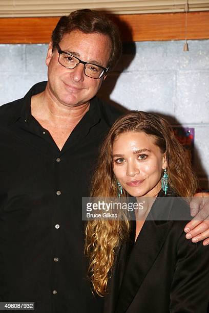 Bob Saget and Ashley Olsen pose backstage as Saget joins the cast of the hit play 'Hand To God' on Broadway at The Booth Theatre on November 6 2015...