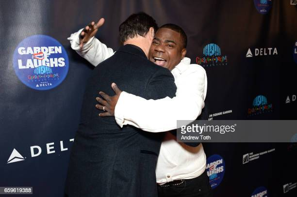 Bob Saget and Tracy Morgan attend the 2017 Garden of Laughs at Madison Square Garden on March 28 2017 in New York City
