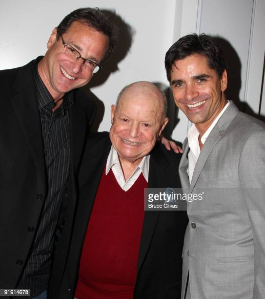 Bob Saget Don Rickles and John Stamos pose backstage at 'Bye Bye Birdie' on Broadway at the Henry Miller's Theatre on October 14 2009 in New York City