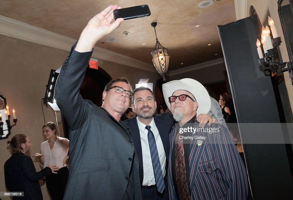 Bob Saget, Jimmy Kimmel, and Creator/Executive Producer/Writer Bobcat Goldthwait take a selfie at Bobcat Goldthwait's Misfits & Monsters Premiere Event at The Hollywood Roosevelt Hotel on July 11, 2018 in Hollywood, California. 392403.