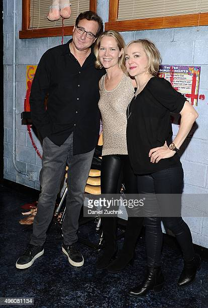 Bob Saget Rebecca Luker and Geneva Carr pose on stage at 'Hand To God' at Booth Theatre on November 6 2015 in New York City