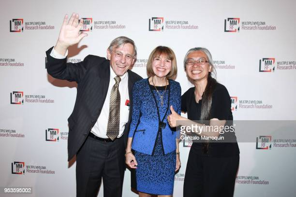 Bob Schneck Sue Korn and Cora Schneck during the Multiple Myeloma Research Foundation's Laugh For Life at 583 Park Avenue on May 1 2018 in New York...