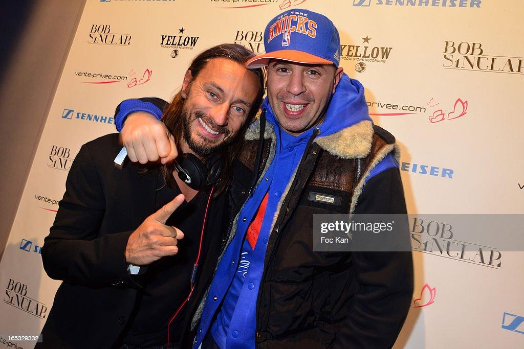 Bob Sinclar and DJ Cut Killer attend the 'Paris By Night' Bob Sinclar CD Launch Concert Party At La Gaite Lyrique on April 2, 2013 in Paris, France.