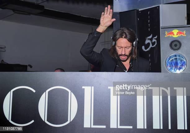 Bob Sinclar performs at the Collini Unminimal Party part of Milan Fashion Week Autumn / Winter 2019/20 on February 20 2019 in Milan Italy