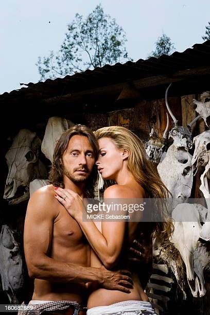 Bob Sinclar the French star DJ plays the farmer family in a ranch in Los Angeles USA Nailed to a wall of skulls of buffalo he poses shirtless with...