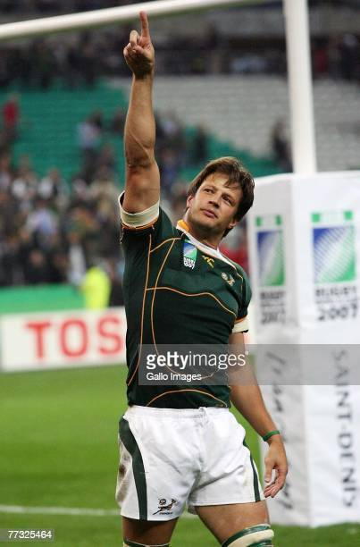 Bob Skinstad celebrates during the Rugby World Cup Semi Final between South Africa and Argentina at the Stade de France on October 14 2007 in...