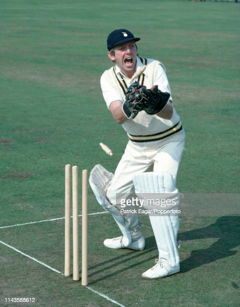 Bob Stephenson of Hampshire demonstrates his wicketkeeping technique at Southampton circa September 1978