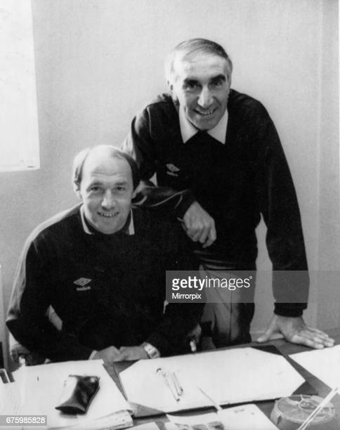 Bob Stokoe Manager of Carlisle United hands over the running of the club to new boss Bryan Robson at Brunton Park August 1985 aka Pop Robson