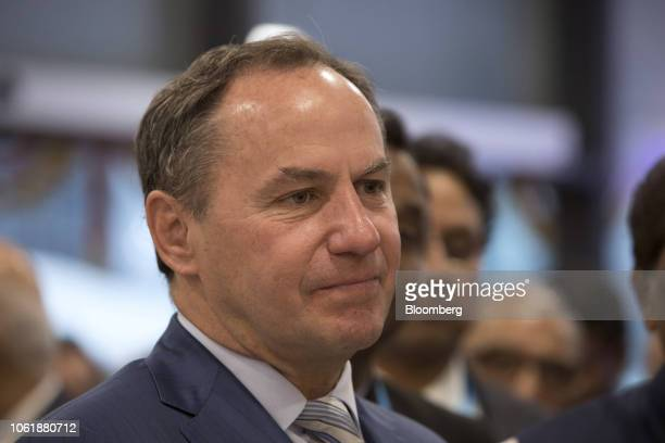 Bob Swan interim chief executive officer and chief financial officer of Intel Corp reacts during the inauguration of the company's research and...