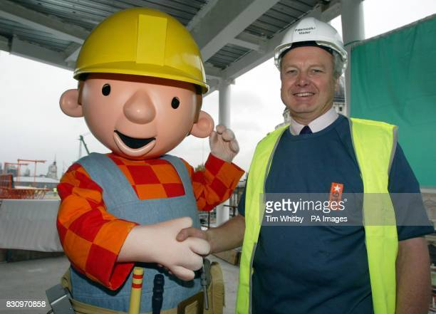 Bob the Builder with Sir Michael Latham Chairman of CITB during the launch of Jeans for Genes Day and National Construction week at the construction...