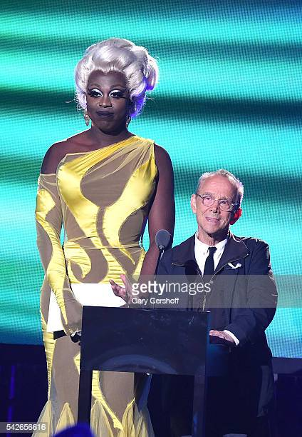 Bob the Drag Queen and Joel Grey speak at the 2016 Logo's Trailblazer Honors at Cathedral of St John the Divine on June 23 2016 in New York City...