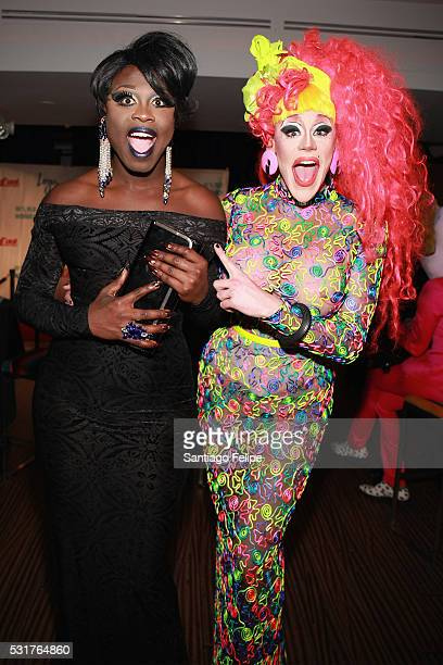 Bob the Drag Queen and Thorgy Thor attend the RuPaul's Drag Race Season 8 Finale Party at Stage 48 on May 16 2016 in New York City