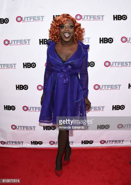 Bob the Drag Queen arrives at the 2017 Outfest Los Angeles LGBT Film Festival Opening Night Gala of God's Own Country at the Orpheum Theatre on July...