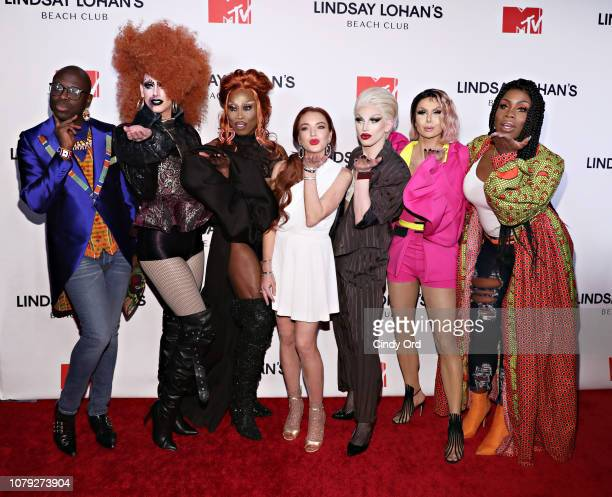 Bob the Drag Queen Dusty Ray Bottoms Monique Heart Lindsay Lohan Aquaria Trinity 'The Tuck' Taylor and Money X Change attend MTV's Lindsay Lohan's...