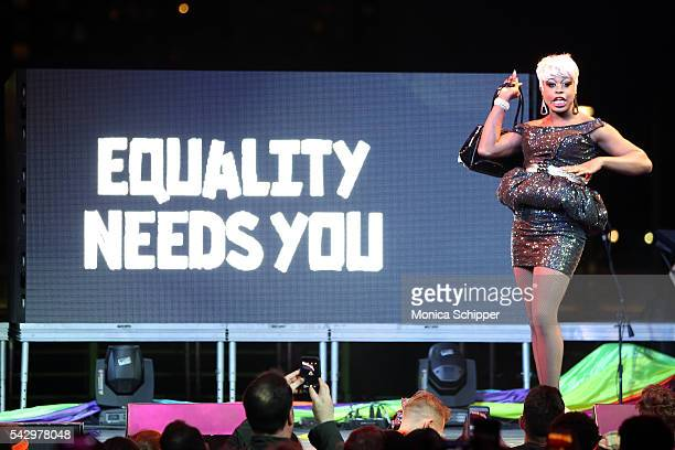 Bob the Drag Queen performs at New York City Pride 2016 The Rally at Pier 26 on June 24 2016 in New York City