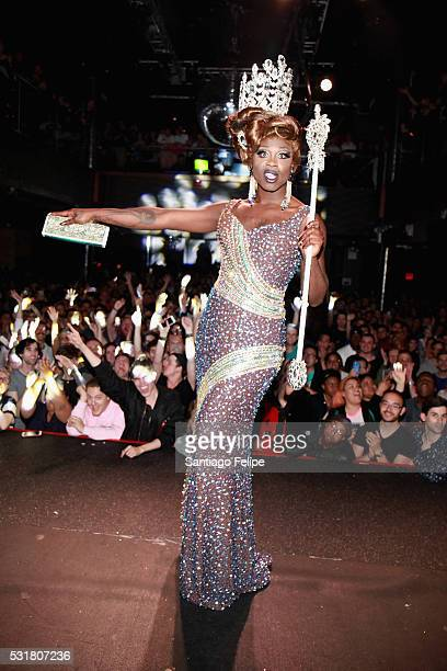Bob the Drag Queen poses on stage after being crowned winner of RuPaul's Drag Race Season 8 during the RuPaul's Drag Race Season 8 Finale Party at...