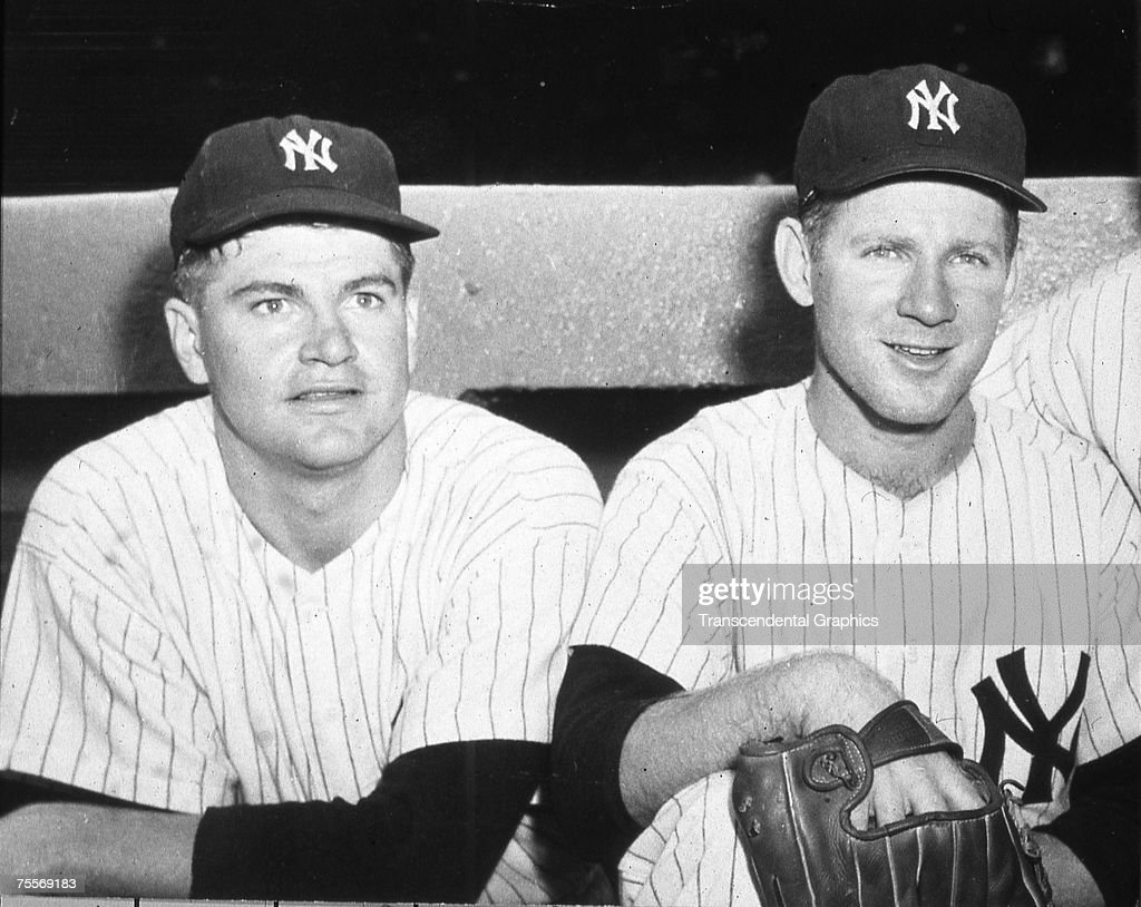 NEW YORK - OCTOBER 6, 1958. Bob Turley, left, pitcher in the upcoming fifth game of the 1958 World Series in New York, talks with teammate Whitey Ford on October 6.