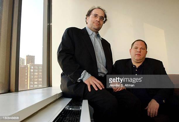 Bob Weinstein and Harvey Weinstein of Miramax seen in an office at Elegant Films at 1995 Broadway in Manhattan NY
