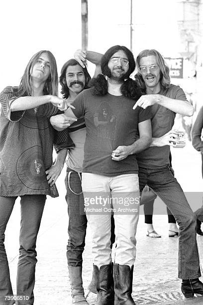 Bob Weir Bill Kreutzmann Jerry Garcia Phil Lesh of the rock and roll group The Grateful Dead pose for a portrait session on Portrero Hill in circa...