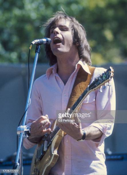 Bob Weir performs with The Grateful Dead at Frost Amphitheater in August 1975 in Palo Alto California