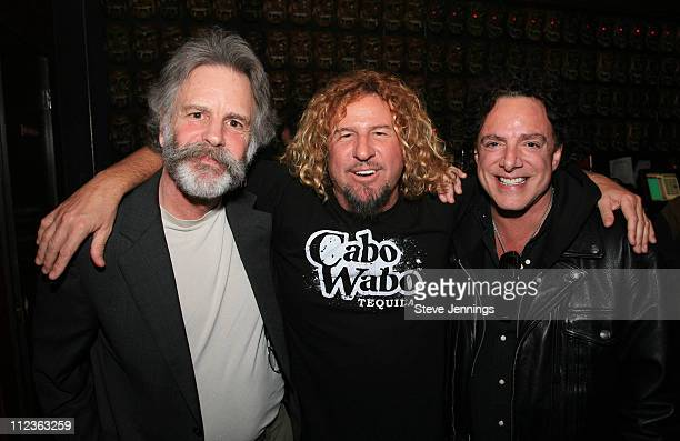 Bob Weir Sammy Hagar and Neal Schon during Sammy Hagar Celebrates His Induction Into the Rock and Roll Hall of Fame with Cabo Wabo Uno Tequila at...