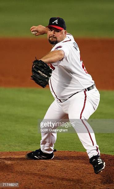 Bob Wickman of the Atlanta Braves pitches against the San Francisco Giants at Turner Field on August 29 2006 in Atlanta Georgia The Braves defeated...