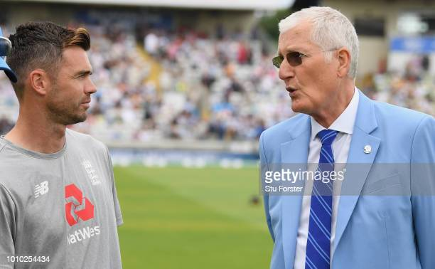 Bob Willis and James Anderson who were members of England's greatest Test Team to mark England's 1000th Test Match pictured during day 3 of the First...