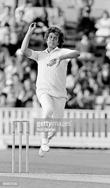 Bob Willis bowling for England against New Zealand during the Prudential Cricket World Cup match held at Edgbaston Birmingham England on 15th June...
