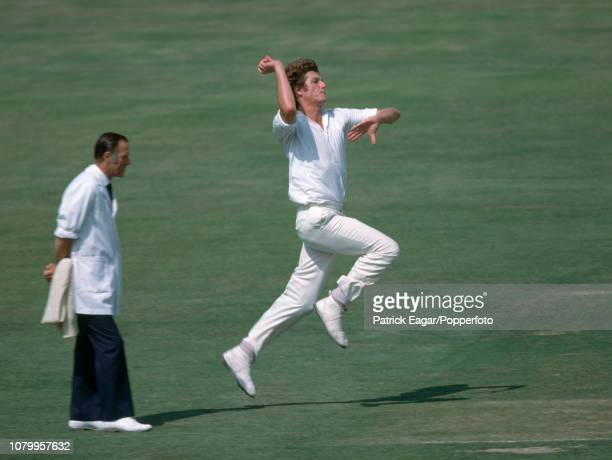 Bob Willis bowling for England during the 3rd Test match between England and New Zealand at Lord's Cricket Ground London 24th August 1978 The umpire...