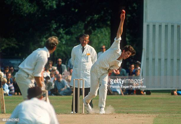 Bob Willis bowling for Surrey in the John Player League match between Surrey and Warwickshire at Byfleet 12th July 1970 Arthur Jepson is the umpire