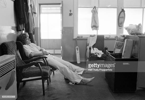 Bob Willis captain of Warwickshire relaxes in the dressing room after a day in the field during a county match at Edgbaston Birmingham in July 1978