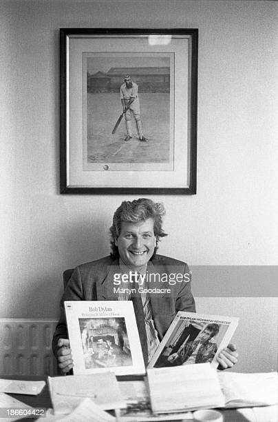 Bob Willis English cricketer who played for Surrey Warwickshire and England portrait holding Bob Dylan album United Kingdom 1990