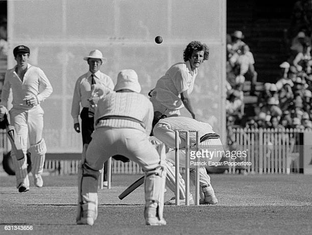 Bob Willis of England bowls a bouncer to Allan Border of Australia during the 3rd Test match between Australia and England at the MCG Melbourne...