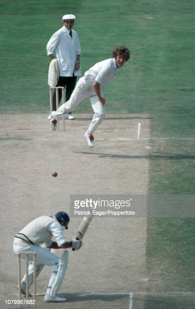 Bob Willis of England bowls a bouncer to Dilip Vengsarkar of India during the 3rd Test match between England and India at The Oval London 13th July...
