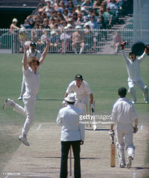 Bob Willis of England traps Australia's captain Ian Chappell LBW for 0 during the 3rd Test match between Australia and England at the MCG Melbourne...