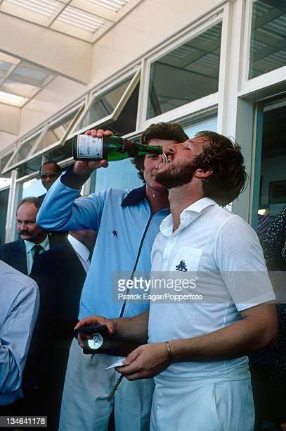 Bob Willis serves the champagne to Ian Botham, England v Australia, 4th Test, Edgbaston, July 1981.