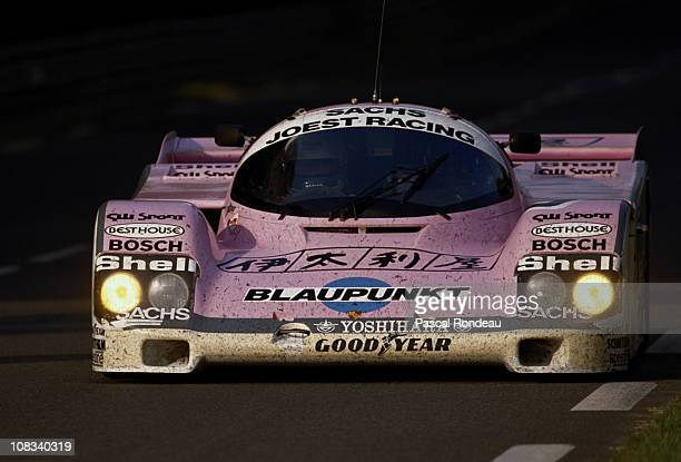 Bob Wollek drives the Joest Racing Porsche 962C during the FIA World Sportscar Championship 24 Hours of Le Mans race on 10th June 1989 at the Circuit...