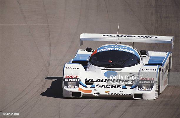 Bob Wollek drives the Joest Racing Porsche 962C during the FIA World Sportscar Prototype Championship 1000 kms of Brands Hatch on 23rd July 1989 at...