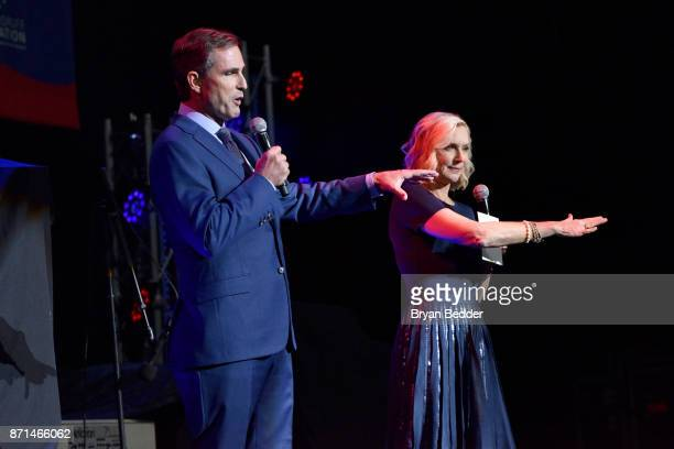 Bob Woodruff and Lee Woodruff speak onstage during the 11th Annual Stand Up for Heroes Event presented by The New York Comedy Festival and The Bob...