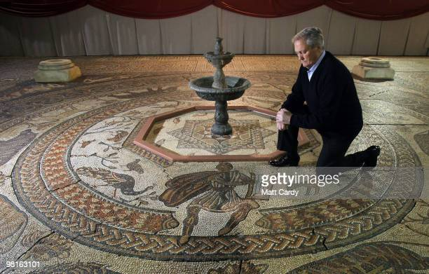 Bob Woodward looks at the reconstruction he built of the Orpheus Pavement at Prinknash Abbey on March 31 2010 in Gloucester England The replica...
