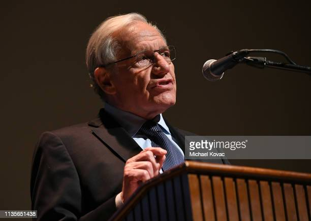 Bob Woodward presents onstage at 'A Morning With Bob Woodward' at American Jewish University on April 7, 2019 in Los Angeles, California.