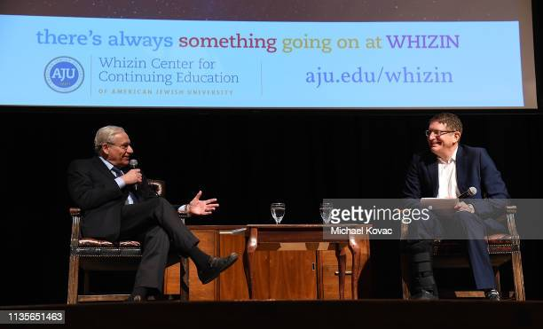 Bob Woodward speaks with Dr. Jeffrey Herbst at 'A Morning With Bob Woodward' at American Jewish University on April 7, 2019 in Los Angeles,...