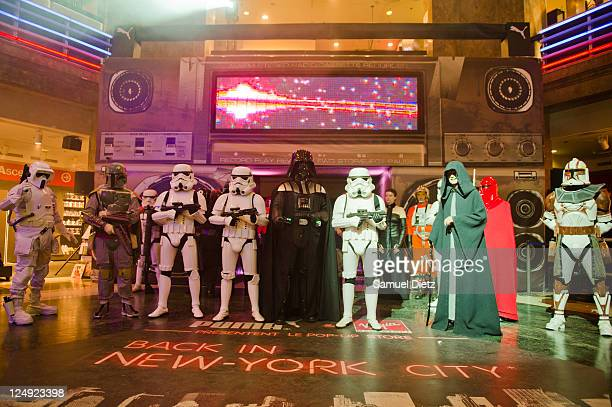 Boba Fett, Darth Vador and Emperor Palpatine with Stormtroopers at the Star Wars Saga release party at Virgin Megastore Champs-Elysees on September...
