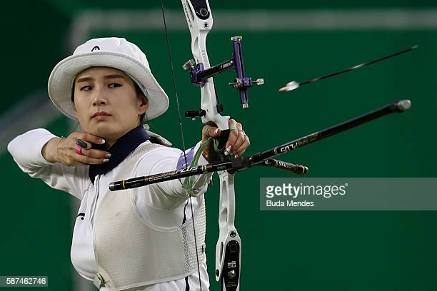 Bobae Ki of South Korea competes during the Women's Individual Elimination Rounds on Day 3 of the Rio 2016 Olympic Games at the Sambodromo on August...