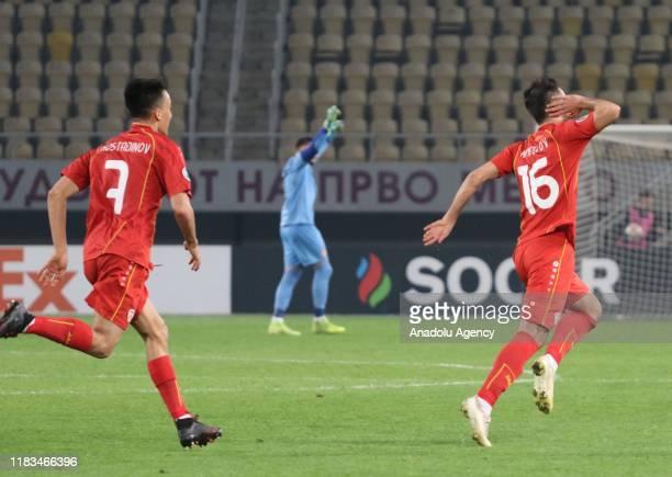 Bobak Nikolov of North Macedonia celebrates after scoring a goal during UEFA Euro 2020 qualifying match between North Macedonia and Israel at Todor...