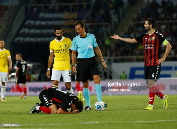 Boban Grncarov of Vardar reacts during the UEFA Europa League play-off match between Vardar and Fenerbahce at Philip II National Arena in Skopje,...