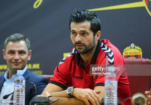 Boban Grncharov of Vardari holds a press conference ahead of the UEFA Europa League play-off match between Vardar and Fenerbahce at Philip II...