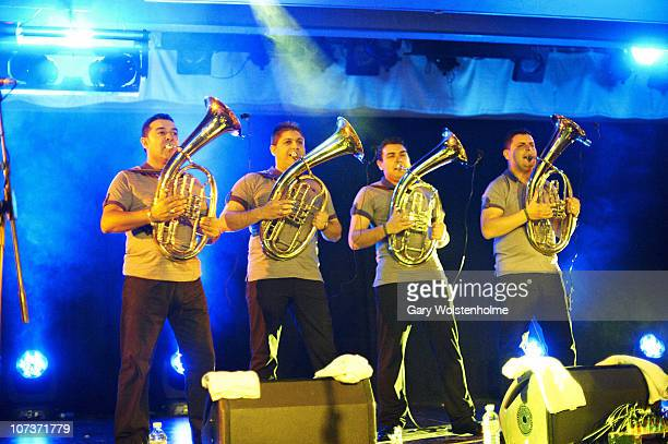 Boban i Marko Markovic Orkestar performs on stage during the final day of ATP Nightmare Before Christmas at Butlins Holiday Centre on December 5,...