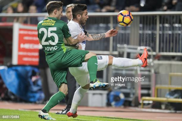 Boban Jovic of Bursaspor Adem Buyuk of Kasimpasa SKduring the Turkish Spor Toto Super Lig football match between Kasimpasa SK and Bursaspor on...